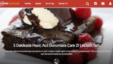 Mynet'in yemek odaklı içerik ağı Mynet Yemek açıldı